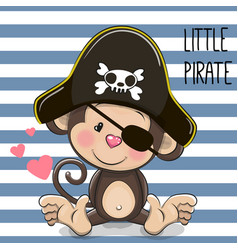 little monkey pirate vector image
