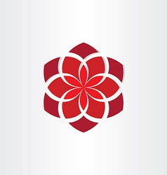 red flower icon background vector image vector image
