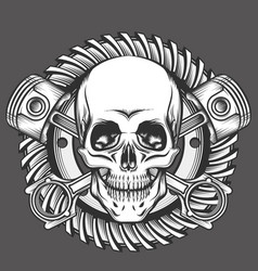skull with pistons against motorcycle gear emblem vector image