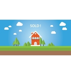 sold house with text on top of the house vector image vector image