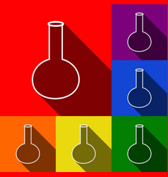 tube laboratory glass sign set of icons vector image