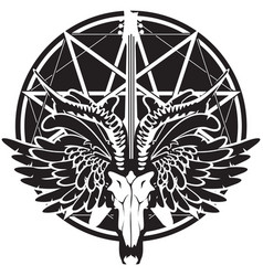 with guitar skull of goat and wings vector image vector image