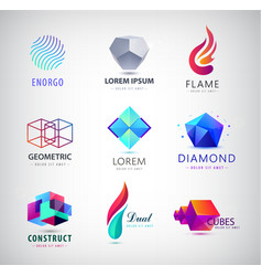 business icons set abstract logos company vector image vector image