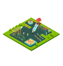 children playing with parents on kids playground vector image