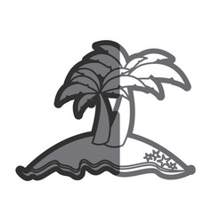 gray thick contour of island with two palms vector image vector image