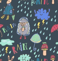 Happy summer rain seamless pattern vector