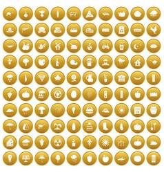 100 pumpkin icons set gold vector