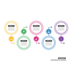5 circle thin line infographic for business vector image