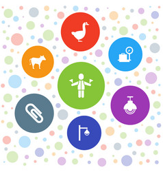 7 standing icons vector