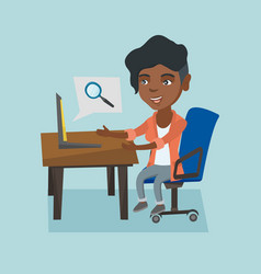 african woman searching information on a laptop vector image