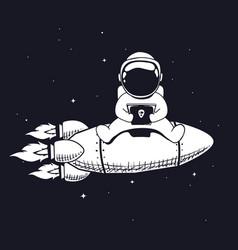 Astronaut and smartphone vector