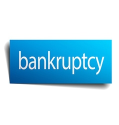 Bankruptcy blue square isolated paper sign on vector
