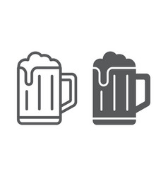 Beer line and glyph icon drink and alcohol lager vector