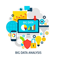Big data analysis flat concept vector