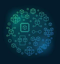 Blockchain crypto round blue bright outline vector