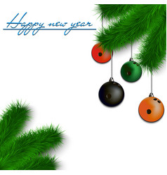 Bowling balls on christmas tree branch vector