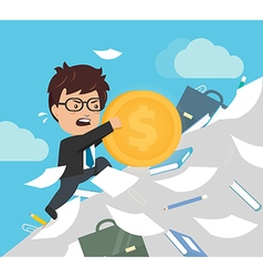 Businessman are pushing a dollar coin vector