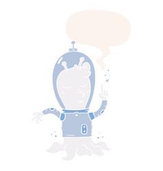 Cartoon alien and speech bubble in retro style vector