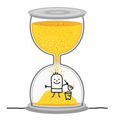 Cartoon kid in a big hourglass vector