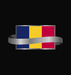 chad flag ribbon banner design vector image