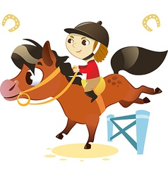 Child with Small Horse jumping a Hurdle vector image vector image