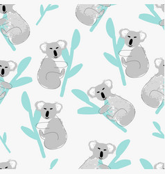 childish koala animal seamless pattern vector image