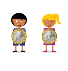 children holding euro coin vector image