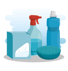 cleaning supplies with soap detergent spray vector image