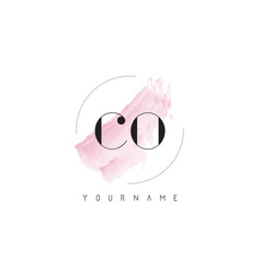 Co c o watercolor letter logo design with vector