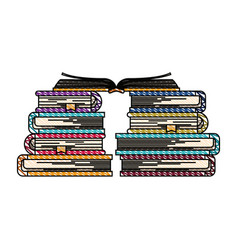 Color crayon stripe image of books with open book vector