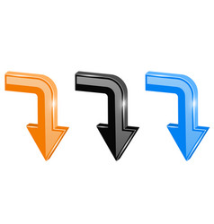 colored down arrows 3d shiny signs vector image