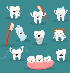 Cute Tooth Character Set vector