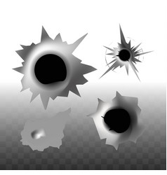 Deep round holes from bullets monochrome templates vector
