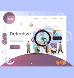 Detective website landing page design vector