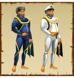 Diver and captain of the ship vector image