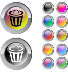 Dustbin multicolor round button vector