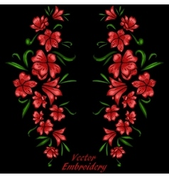 Embroidery flowers vector