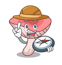 Explorer russule mushroom mascot cartoon vector