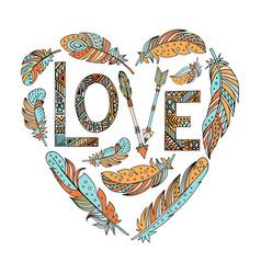 Feathers birds form a heart vector