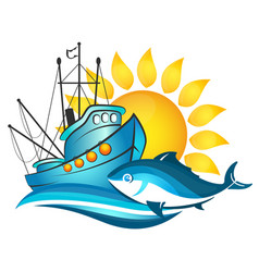 Fishing boat and sun vector