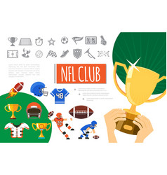 Flat american football elements composition vector