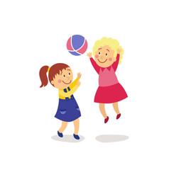 Flat girls playing with inflatable ball vector