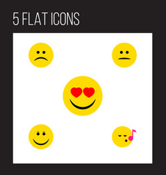 Flat icon gesture set of displeased joy sad and vector