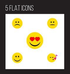 flat icon gesture set of displeased joy sad and vector image