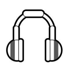 flat line headphones over white background vector image