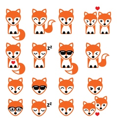 Fox cute character icons wildlife vector