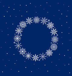 Frame of snowflakes on blue background vector