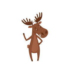 friendly moose waving paw forest animal with vector image