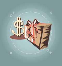 gift box dollar sing retro shopping style vector image