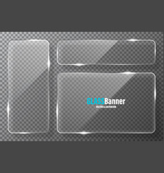 glass frames collection realistic transparent vector image